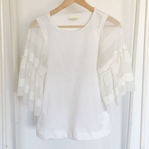 Wide Sleeve White Anthropologie Top